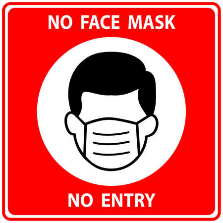 No Face Mask No Entry Policy Sign on red background. icon,Vector Image
