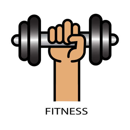 Vector illustration of athletic sportsman arm holding dumbbell with fitness lettering. Fitness workout.