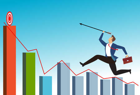 Businessman leader holding arrow running on business graph to the target to win in business strategy. man aims at achieving success and aims for target or goal concept,