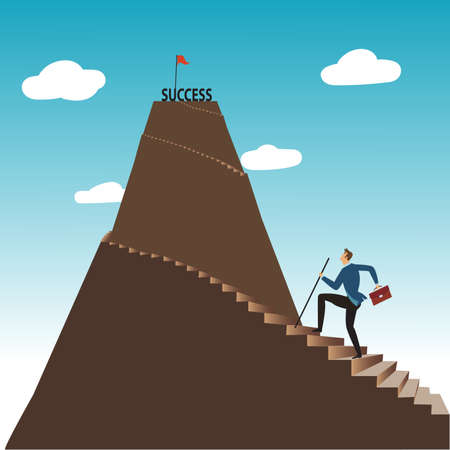 Businessman walking up stairway to the top of mountain, Business concept growth and the path to success, Flat design vector illustration
