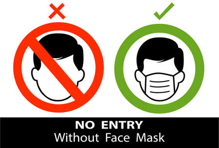 Warning sign No entry without face mask stamp, mask required sign, vector illustration. Vector front door plate.