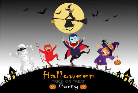 Halloween Kids Costume Party. Group of kids in halloween costume with bats and flying witch onthe moonlight. dark background. Ilustração Vetorial