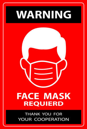 Face mask or covering required warning shop sign for coronavirus covid-19 social distancing pandemic use. Facemask must be worn in shops vector design.