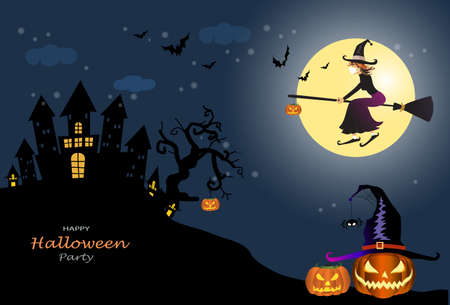 Happy Halloween party with Jack O' Lantern pumpkin, witch hat, bat and flying witch on moon night,Vector illustration background for party invitation, greeting card, web, social media.