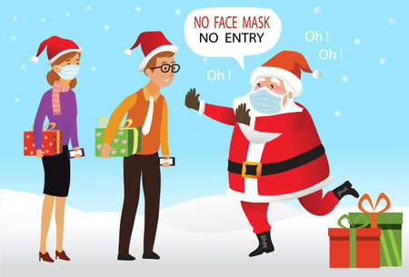 Merry Christmas and happy new year. Santa Claus with surgical mask. Warning without a face mask no entry and keep distance. Corona virus protection. New normal concept. -Vector 向量圖像