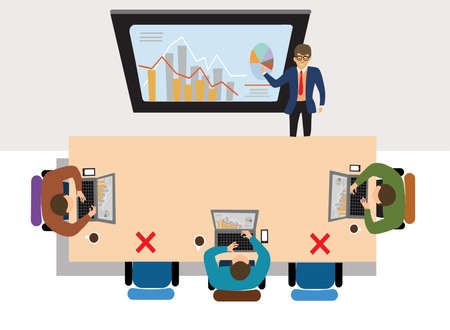 Business meeting concept. Presentation of the project. Man speaks before his colleagues. Vector illustration of a flat design