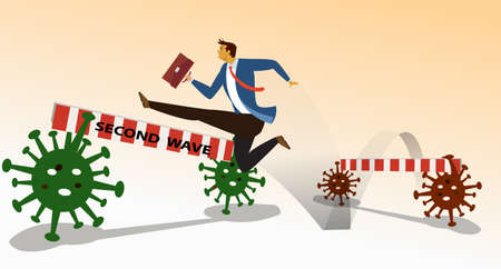 Flat cartoon image of business man in blue suit  jumping a barrier second wave, crisis COVID-19 Coronavirus that affect the global economy. Business concept. vector illustration