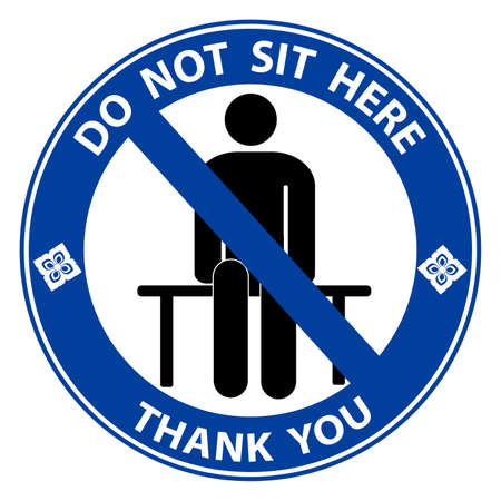 Do not sit here for Keep Social Distance. For prevention of spreading the infection in Covid-19. Vector illustration of people icon with Social Distance concept.