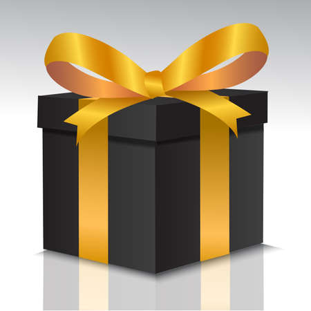 Black gift box with gold bow for Christmas, New Year's Day. vector illustration