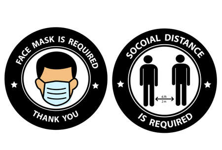 Face Masks Required and Social Distancing Required 6 ft or 6 Feet Round Adhesive Sticker or Badge Icons against the Spread of Coronavirus Covid-19. Vector Image.
