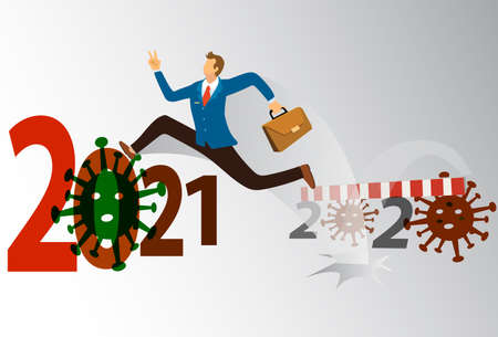 Business man in blue suit  jumping a barrier crisis COVID-19 Coronavirus in 2020 that affect the global economy. Business  and jumping up 2021 number with covid 19 concept. vector illustration Stock Illustratie