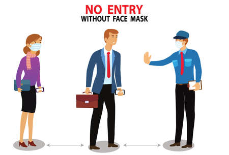 A man without mask concept. Please Wear face Mask, No Entry Without Face Mask or Wear a Mask Icon. vector flat illustration.
