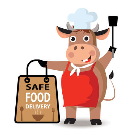 Safe food delivery at home during coronavirus covid-19 epidemic: delivery cow holding a bag with fast food, take away. healthy concept