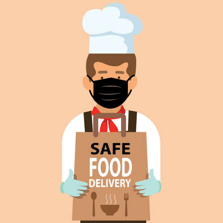 Safe food delivery at home during coronavirus covid-19 epidemic: delivery man holding a bag with fast food, he is wearing a face mask and gloves. healthy concept Ilustración de vector
