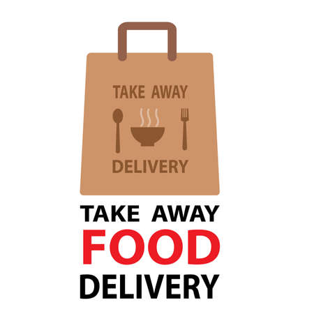 Ready food delivery line icon. Vector illustration of takeaway lunch service. Daily meal in papr bag with fork and spoon pictorgam. healthy concept