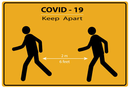 A social distancing sign during the COVID-19 pandemic, asking people to keep apart  of 2m or 6 feet from another person limit the spread of the covid-19