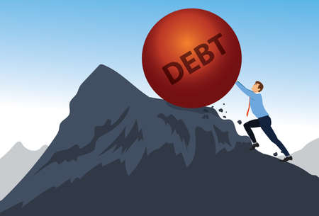 Tired businessman pushing a boulder uphill with the inscription debt The debt burdenand debt time . financial freedom. vector illustration
