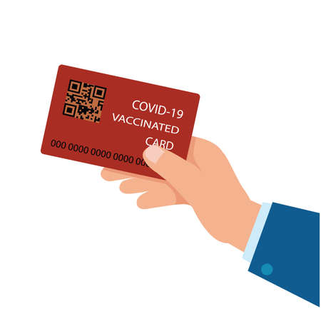 Vaccination card during to travel without problem.healthy concept. Flat style Vector Illustration