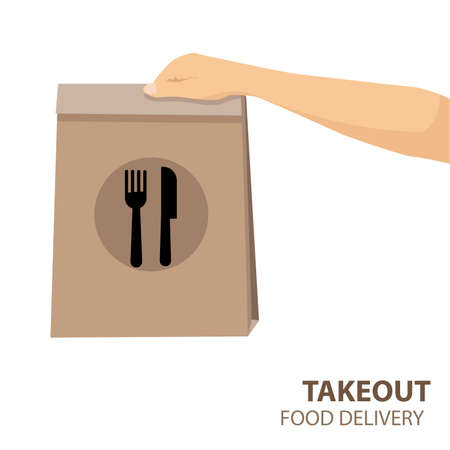 female holds in hand brown food paper bag for takeout isolated on white background. Packaging template. Delivery service concept. vectot,symbol,illustration Vecteurs