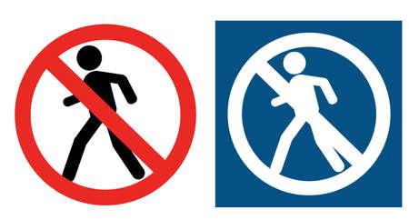 No access for pedestrians prohibition sign, vector illustration.