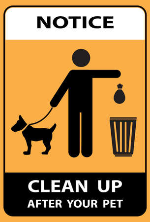Notice, Clean after your pet vector sign isolated on ywllow background. sign, symbol Vector Illustration