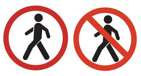 Walking traffic and No walking traffic sign. Prohibition No Pedestrian Sign.vector,sign,symbol Vetores