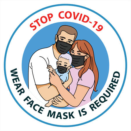 Stop covid-19, wear face mask is required. Family wearing protective Medical mask for prevent virus Covid19. Dad, Mom, Son wearing a surgical mask. Healthcare, life protection. Quarantine zone, epidemy Vecteurs