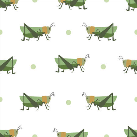 Background of grasshoppers pattern. Seamless background of crickets. vector pattern