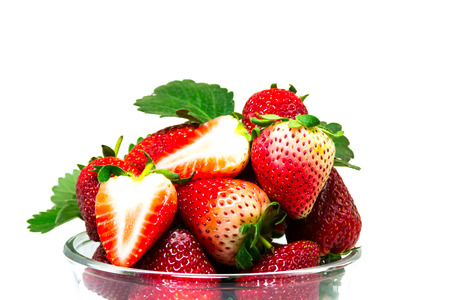 srawberries:  Sliced strawberry on cup
