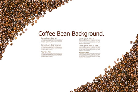 flavored: Frame from  roasted coffee beans isolated on white background