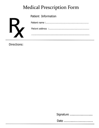 Prescription note representing a doctor's medicine remedy given to a pharmacist.  Banque d'images