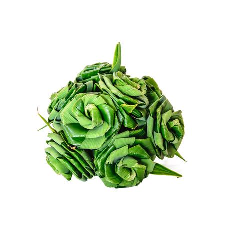 tectorius: Weaving Fresh Pandan leaves for aromatic  on white background