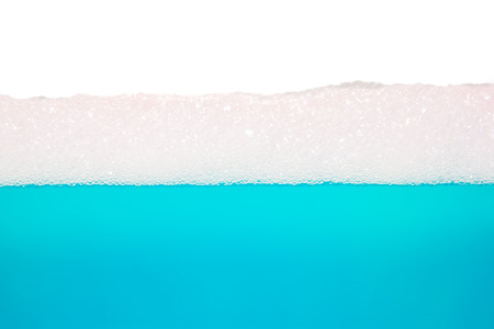 foaming: blue water, bubble texture with white copy space for text
