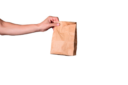 hand hold brown envelope isolated on white background, clipping path