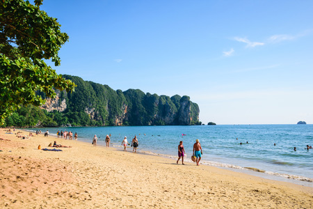 phra nang: Krabi, Thailand - December 01, 2014 Tourists swim at Railay Ao Nang beach, Koh Hong is a very outstanding island located in the northwest of Ao Nang. Krabi, Thailand. Editorial