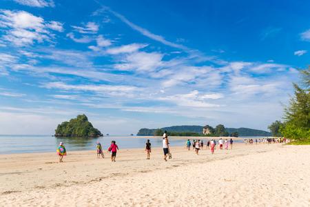 ao: KRABI THAILAND - DECEMBER 03 2014: Passengers boarding ferry ship at Ao nang beach to Phiphi island,Hong island, Krabi. thailand. Editorial