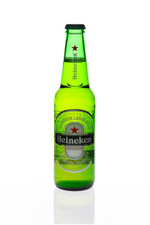 febuary: THAILAND , PATAYA - Febuary 09, 2015 : Heineken Lager Beer is the flagship product of Heineken International which owns over 125 breweries in more than 70 countries Editorial