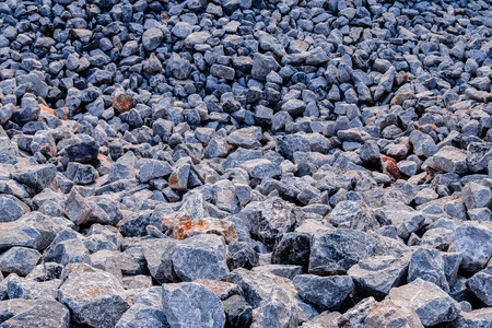 Detail of a pile of crushed rocks (selected foxus) Stock Photo