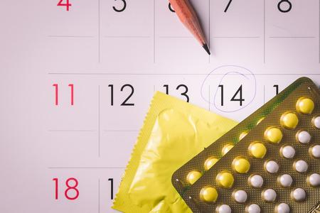 Birth control pills on calendar (add vignette tone)