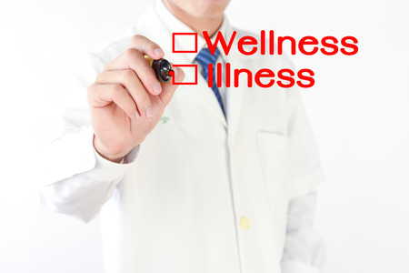 bad planning: Doctor writing wellness or illness, medicine concept(shallow DOF) Stock Photo
