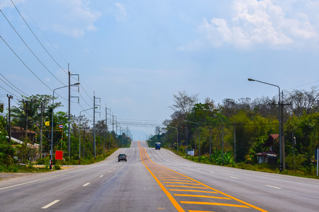 aec: LOEI, february 22:Highway in Thailand on February 22, 2015 in LOEI , Thailand. Highways in Thailand expanded from 2 lanes to 4 lanes to support Asean Economics Community  (AEC). Editorial