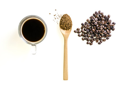 l agriculture: instant coffee in spoon bean glass cup isolated on white background