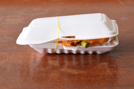 foam box: Lunch box, fried rice with pork and fried eggs,in the foam box.