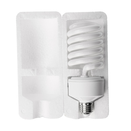 helical: lamps - helical compact fluorescent light bulbs in a foam box on white background.