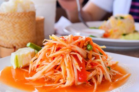 Thai food -Thai papaya salad (Som Tum Thai) photo