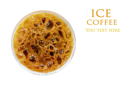 Iced coffee in plastic cup (top view)