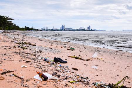 Garbage on the pattaya beach thailand Stock fotó