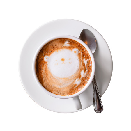 cappuccino cup: Cappuccino cup with saucer isolated on white with clipping path. Top view