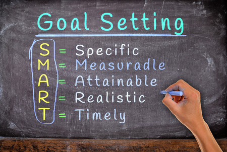 setting goals: hand writing setting goals with chalk, on blackboard. Stock Photo