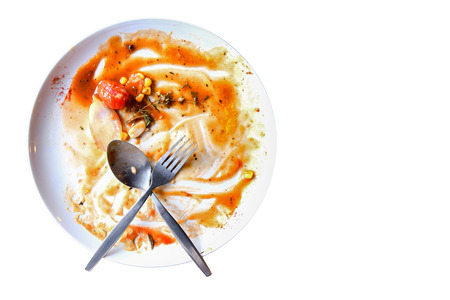 Top view of empty plate, dirty after the meal is finished.with copy space for text on right area. Archivio Fotografico